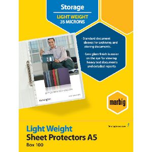 Marbig A5 Light Weight Sheet Protector 100 Pack