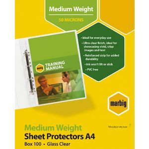 Marbig Sheet Protectors A4 Medium Weight 100 Pack