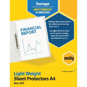 Marbig A4 Light Weight Sheet Protector 200 Pack