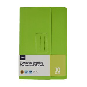 Document Wallet Foolscap 240gsm Lime 10 Pack