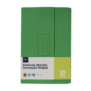 Document Wallet Foolscap 240gsm Green 10 Pack