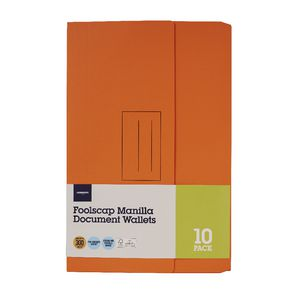 Document Wallet Foolscap 240gsm Orange 10 Pack