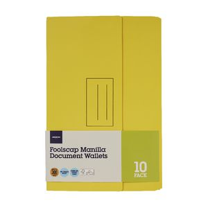 Document Wallet Foolscap 240gsm Yellow 10 Pack