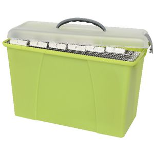 Crystalfile Carry Case Foolscap Clear and Lime