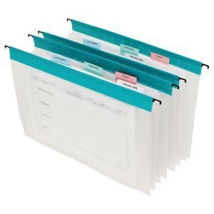 Marbig Foolscap 3 Pocket Suspension File Green 5 Pack