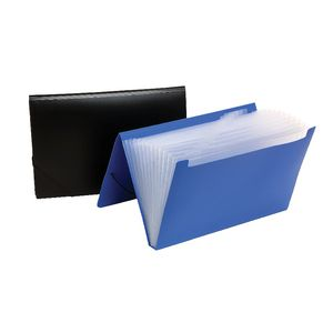 Marbig Foolscap Plastic Expanding File with 12 Pockets Blue