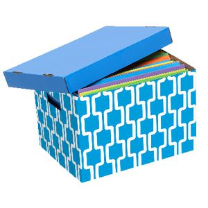 Marbig Patterned Archive Box Blue and White