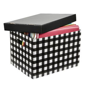 Marbig Patterned Archive Box Black Tartan
