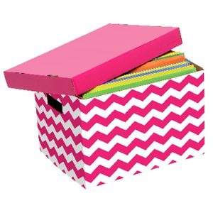 Marbig Patterned Archive Box Pink and White
