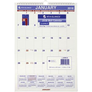 At-A-Glance Monthly Wall Calendar 2018 432x305mm