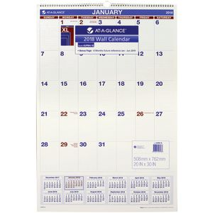 At-A-Glance Monthly Wall Calendar 2018 764x508mm
