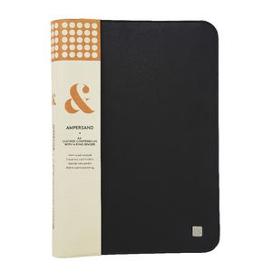 Ampersand A4 Leather 4 Ring Zip Compendium Black Officeworks