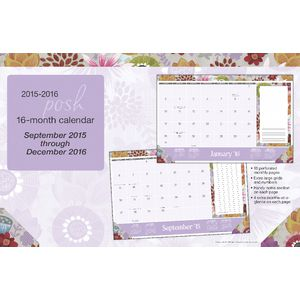 2016 16 Month Desk Pad Posh Painter's Floral