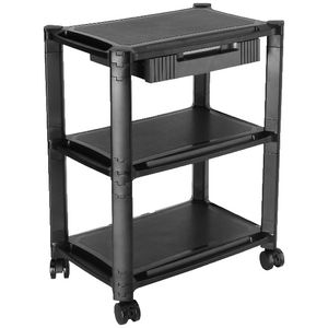 Brateck 3 Shelf and Drawer Height Adjustable Smart Cart
