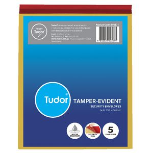 Tudor PolyTough Tamper Evident Envelopes Gold 190x240 5 Pack
