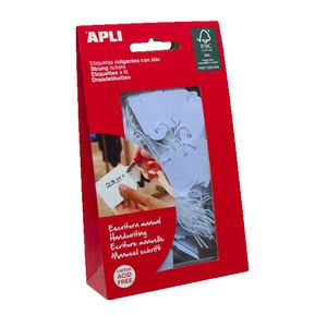 Apli 12930 Strung Tickets 22 x 35mm Blue 100 Pack