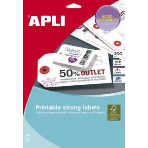 Apli Strung Tickets 36 x 53mm Printable Double Sided 80 Pack