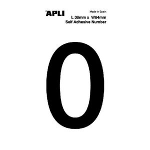 Apli Self Adhesive Number 0 Black and White