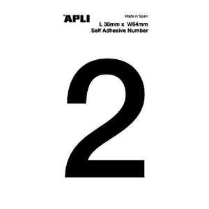 Apli Self Adhesive Number 2 Black and White