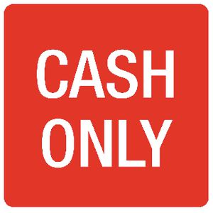 Apli Cash Only Self Adhesive Sign