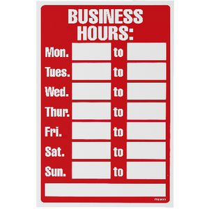 Business Hours Sign 203 x 305mm