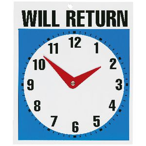 Will Return Clock Sign 190 x 230mm