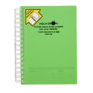 Aqua Drops Twinkle Twist Ring A6 Notebook Lime 70 Page