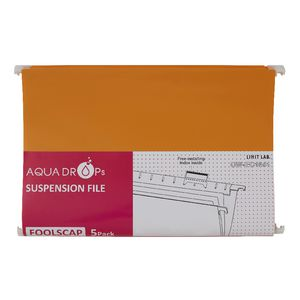 Aqua Drops Suspension File Foolscap Orange 5 Pack