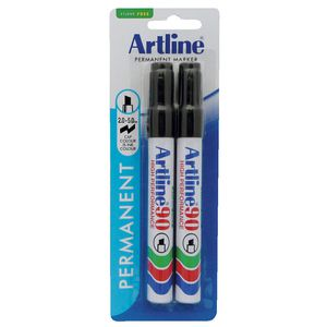 Artline 90 Permanent Marker Black 2 Pack
