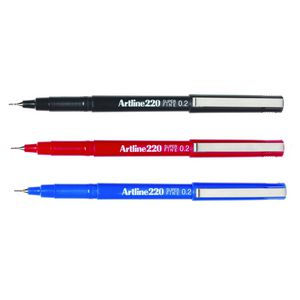 Artline 220 0.2mm Fineliner Assorted 4 Pack