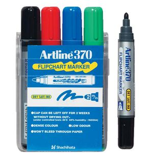 Artline 370 Flipchart Markers Assorted 4 Pack