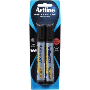 Artline 577 Whiteboard Markers Black 2 Pack