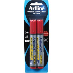 Artline 577 Whiteboard Markers Red 2 Pack