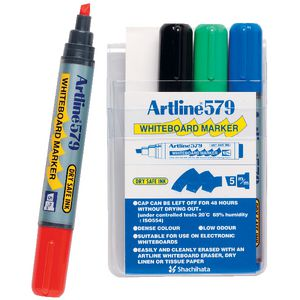Artline 579 Whiteboard Markers Assorted 4 Pack
