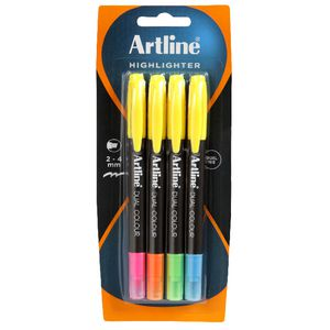 Artline Dual Nib Highlighters Assorted 4 Pack