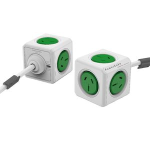 Allocacoc PowerCube 4 Power Outlet and 2 USB Ports 3m Green