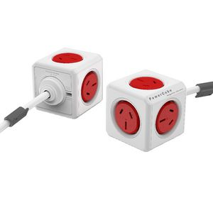 Allocacoc PowerCube 5 Power Outlets 3m Red
