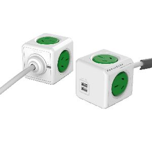Allocacoc PowerCube 4 Power Outlet and 2 USB Ports 1.5m Green