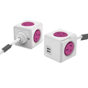 Allocacoc PowerCube 4 Power Outlet and 2 USB Ports 1.5m Pink