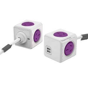 Allocacoc PowerCube 4 Power Outlet and 2 USB Port 1.5m Purple