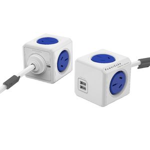 Allocacoc PowerCube 4 Power Outlet and 2 USB Ports 3m Blue