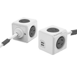 Allocacoc PowerCube 4 Power Outlet and 2 USB Ports 3m Grey at Officeworks in Campbellfield, VIC | Tuggl