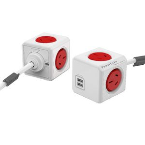 Allocacoc PowerCube 4 Power Outlet and 2 USB Ports 3m Red