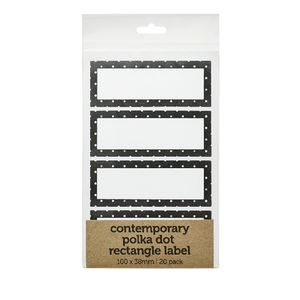 Contemporary Dots Rectangle Label 100 x 38mm 20 Pack