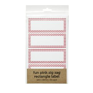 Zig Zag Rectangle Label 100 x 38mm 20 Pack Pink