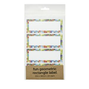 Geometric Rectangle Label 100 x 38mm 20 Pack