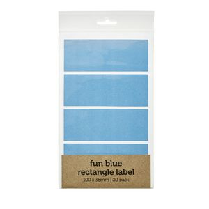 Rectangle Label 100 x 38mm 20 Pack Blue