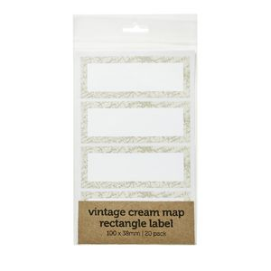 Vintage Map Rectangle Label 100 x 38mm 20 Pack