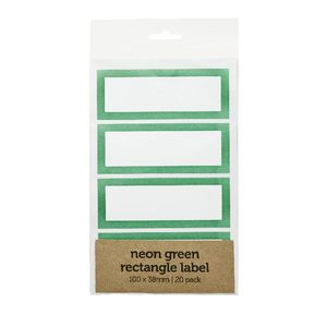 Rectangle Label 100 x 38mm 20 Pack Neon Green