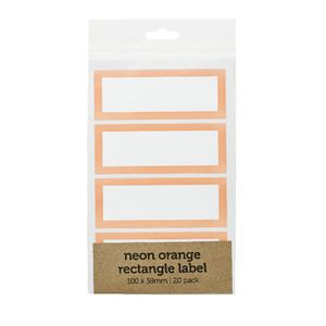 Rectangle Label 100 x 38mm 20 Pack Neon Orange